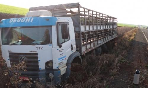 Caminhão saiu da pista na ERS 207 entre Humaitá e Bom Progresso