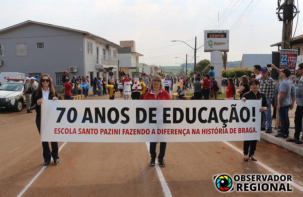 Braga: Escola Santo Pazini comemora seus 70 anos em Desfile Cívico