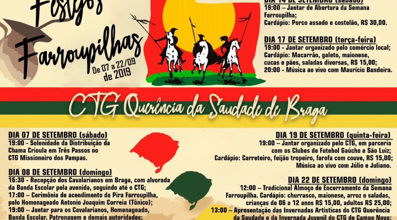 Braga: Confira a programação da Semana Farroupilha do CTG Querência da Saudade