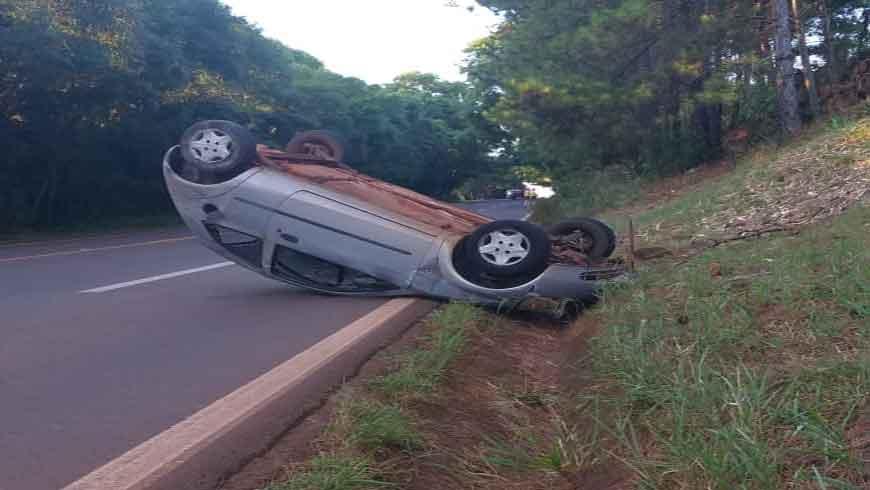 Acidente tipo capotamento de veículo na ERS 155, entre Ijuí e Santo Augusto (Confira Vídeo)