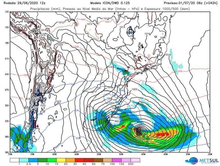 🛑 ALERTA 🛑 Ciclone bomba impactará o Sul e Sudeste do Brasil