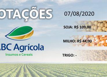 Cotações dos produtos agrícolas (07/08/2020)