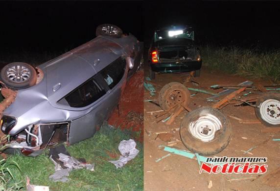 Veículo táxi fica destruído e uma criança fica ferida em acidente na BR 472 em Três de Maio