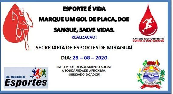 """Miraguaí: Secretaria Municipal de Esportes """"marca gol de placa"""", promove campanha de doação de sangue."""