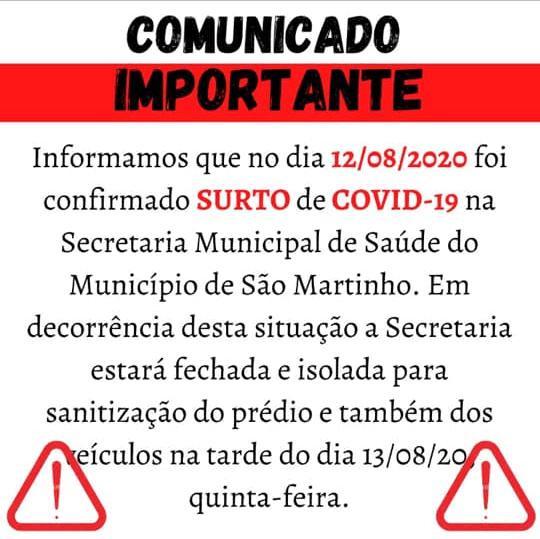 São Martinho: Surto de Covid-19 na Secretaria Municipal de Saúde