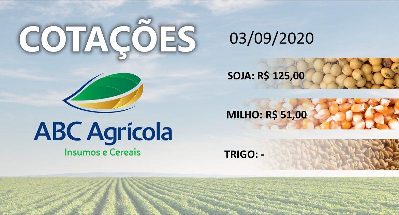 Cotações dos produtos agrícolas (03/09/2020)